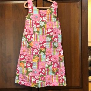 Gymboree quilted pink green embroider dress 10 guc
